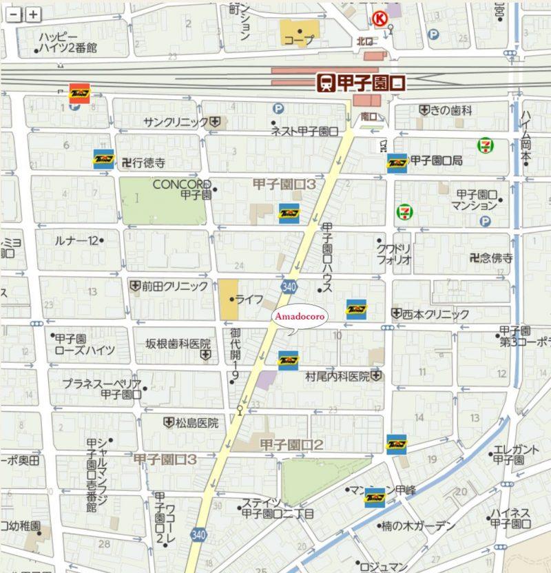 JR甲子園口駅周辺にあるTimes24駐車場の案内地図です。全部で9か所ご利用いただけます。